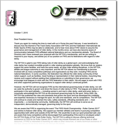 Click here for the full WFTDA letter to FIRS. (PDF)