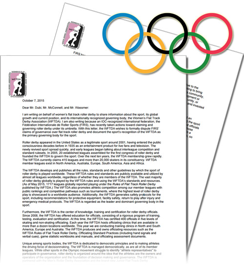 Click here for the full WFTDA letter to the International Olympic Committee. (PDF)