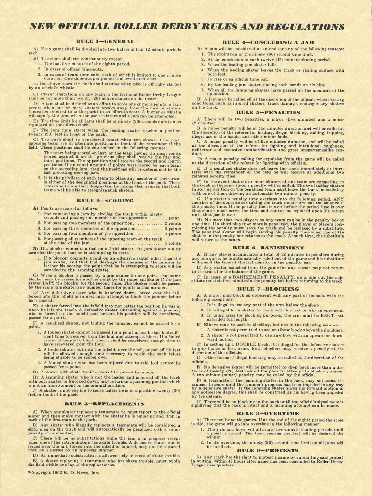 The Roller Derby rules of 1952. They all fit on one page!