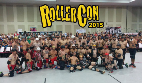 The boys line up after the Chippendales vs. Magic Mike game at RollerCon 2014.